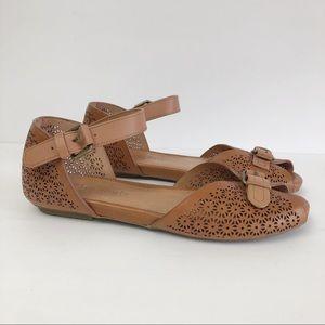 Gentle Souls Bessie Cognac Sandals Laser Cut